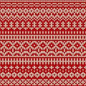 Christmas knitted Seamless Pattern In Fair Isle Style
