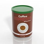3D espresso coffee can isolated on white