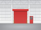 picture of red siding  - Illustration of shutter door and steel door inside factory red color - JPG