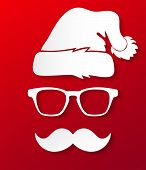 image of christmas claus  - Vector illustration of paper Santa Claus  silhouette in hipster style - JPG