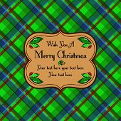 Christmas plaid tartan pattern card, green