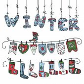 Winter knitted letters,checkbox,socks
