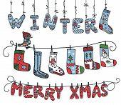 Winter knitted letters,birdl,socks
