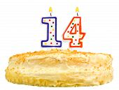Birthday Cake  Number Fourteen Isolated On White