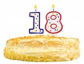 Birthday Cake Number Eighteen Isolated On White