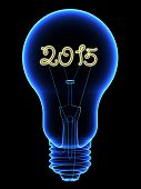 X-ray Lightbulb With Sparkling 2015 Digits Inside Isolated On Black