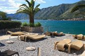 Fabulous Beach With Wicker Loungers On The Shore Montenegro