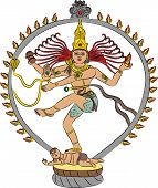 image of kali  - Indian goddess Kali dancing isolated on white background - JPG