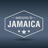 Welcome To Jamaica Hexagonal White Vintage Label
