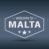 Welcome To Malta Hexagonal White Vintage Label