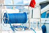 Cable Reel With A Rope On The Deck Of The Ship