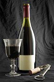 bottle of wine on black