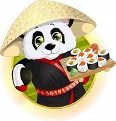 stock photo of panda  - Panda sushibeautiful Panda holding in his paws a tray of sushi - JPG