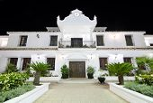 Council building at night in the touristic village of Mijas Malaga Spain.