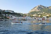 Tour Boats Towing Blue Grotto Boatmen, Marina Grande, Capri, Italy