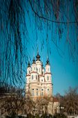 Winter View Of Orthodox Church Through Branches.