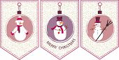 three decoration  Christmas balls with snowmen. seasonal card