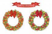 Christmas Cartoon Wreath With Decarative Elements