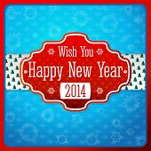 Vintage stylized red New Year label, texture on white ribbon with xmas trees. Snowflake blue backgro