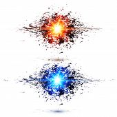 Blue and red techno style explosions