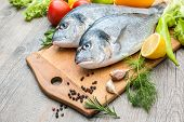 Fresh raw fish gilt head bream  a cutting board