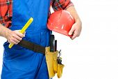 Close-up of a repairman isolated on white background