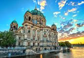 image of dom  - sunset at Berlin Cathedral or Berlin Dom - JPG
