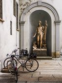 pic of neoclassical  - A neoclassic statue in the entrance hall of a public library in Pavia  - JPG