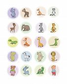 foto of ant-eater  - Vector illustration of the icons animals set - JPG