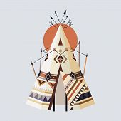 picture of wigwams  - Vector illustration of Indian house Tepees  - JPG