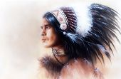 foto of headdress  - beautiful painting of a young indian warrior wearing a gorgeous feather headdress profile portrait - JPG