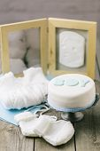 image of memento  - Celebration cake for a baby boy with baby mementos