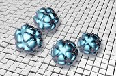 stock photo of deo  - Blue Nanoparticles on cubes background   - JPG
