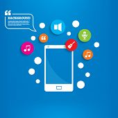 stock photo of musical symbol  - Smartphone with speech bubble - JPG