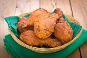 stock photo of southern fried chicken  - Fried chicken in the basket on the table - JPG