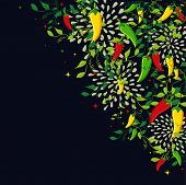 pic of mexican food  - Mexican food background illustration with colorful chili pepper - JPG