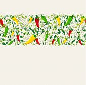 stock photo of mexican food  - Mexican food seamless pattern background illustration with colorful chili pepper - JPG