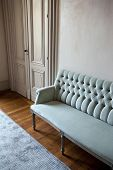 image of banquette  - Velvet sofa and carpet in a living room - JPG