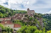stock photo of naturel  - Picturesque Saint Circ Lapopie in France on a sunny day - JPG