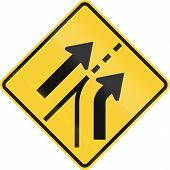 picture of merge  - United States road warning sign  - JPG