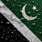 stock photo of pakistani flag  - a flag of Islamabad with rain drops - JPG