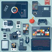 image of promoter  - Set of flat design gadgets electronic devices mobile phone communications - JPG