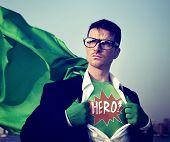 foto of heroes  - Superhero Businessman Hero Comic Explosion Concept - JPG