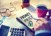 foto of policy  - Businessman Notepad Privacy Policy Concept - JPG