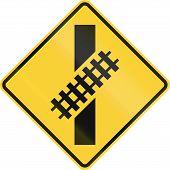 stock photo of railroad-sign  - US road warning sign - JPG