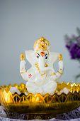 foto of hindu-god  - Ganesha Hindu God statue on tray with pedestal - JPG