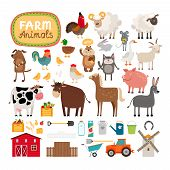 stock photo of cattle dog  - Set of vector farm animals and agricultural accessories - JPG