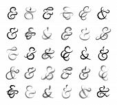 picture of ampersand  - Set of hand drawn ampersands and union words and binding character for invitation cards and labels - JPG