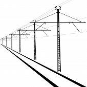 pic of utility pole  - Railroad overhead lines - JPG