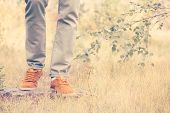 stock photo of swag  - Feet Man walking Outdoor Lifestyle Fashion trendy style nature on background retro colors - JPG